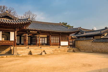 A korean traditional building inside the   Changdeokgung Palace in Seoul Editorial
