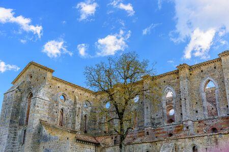 The exterior of the famous Abbey of San Galgano in Chiusdino, Tuscany, Italy Stock Photo