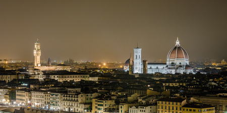 michelangelo: Night view of Florence with the famous Duomo and the tower of the Town Hall from Piazzale Michelangelo Stock Photo