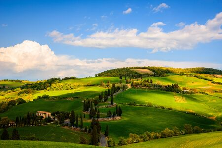 pienza: View of Tuscany countryside in spring Stock Photo