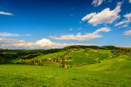 View of Tuscany countryside in spring Stock Photo