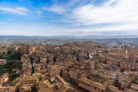 Scenic view of the city of Siena in Tuscany, Italy, from the famous Torre del Mangia.