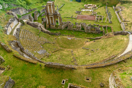View of the Roman theatre of Volterra, Tuscany, Italy