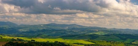 Scenic view of the countryside near Volterra, Tuscany, Italy.