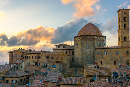 Aerial view of the city of Volterra during sunset Stock Photo
