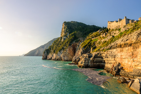 View of the Mediterrean sea and the cliff from the fortress in Porto Venere Stock Photo