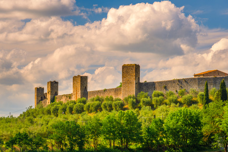 View of the famous town of Monteriggioni near the city of Siena in Tuscany, Italy.
