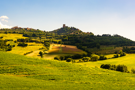 PIENZA, ITALY - MAY 20, 2017 - View of the countryside of ValdOrcia Natural Area in Tuscany during spring season