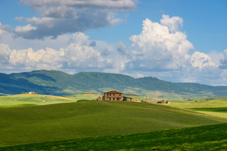 pienza: PIENZA, ITALY - MAY 20, 2017 - View of the countryside of ValdOrcia Natural Area in Tuscany during spring season