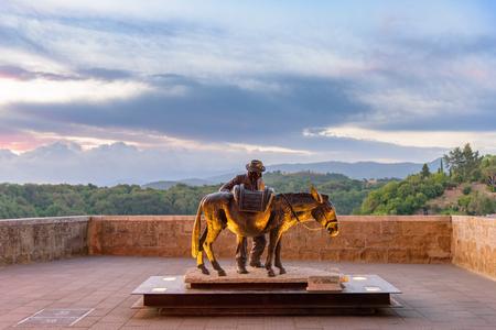 A sculpture in a square in Pitigliano, a medieval village near Grosseto in Tuscany.