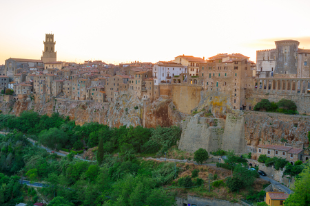 View of the medieval and beautiful town of Pitigliano in Tuscany, Italy, near the city of Grosseto. Stock Photo