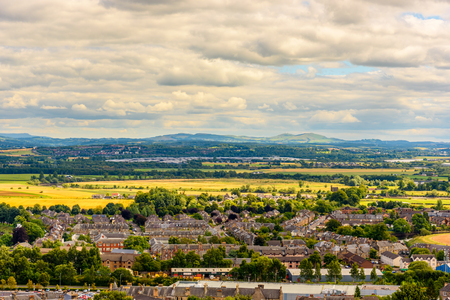 View of the countryside from the top of the Stirling Castle in Scotland, United Kingdom Editorial
