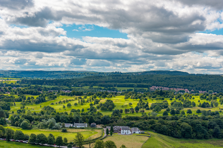 STIRLING, UNITED KINGDOM - AUGUST 9, 2017 - Aerial view of the urban landscape around the Stirling Castle in Scotland.