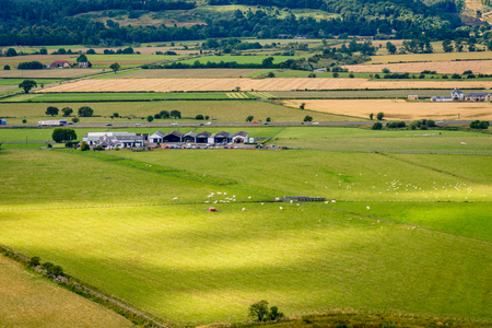 Aerial view of the countryside around the Stirling Castle in Scotland. Editorial