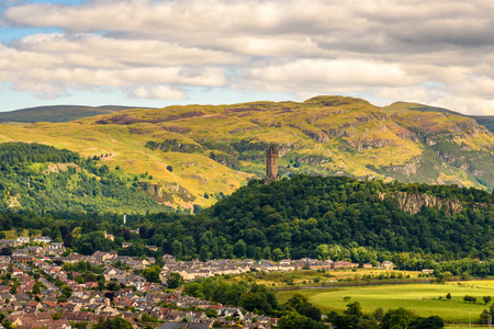 View of the Wallace monument from the castle of Stirling in Scotland.