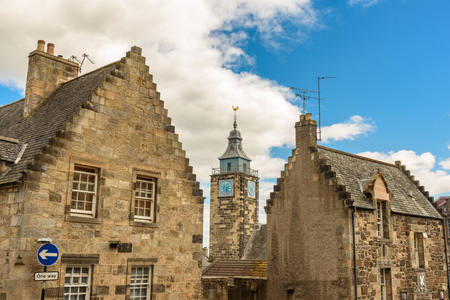 STRILING - UNITED KINGDOM - AUGUST 9, 2017 - View of the old town of Stirling in Scotland with the clock tower