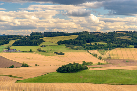 highlands region: Scenic view of the countryside near Perth in Scotland in summer.