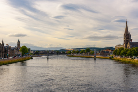 ness river: View of the city of Inverness at dusk. Stock Photo