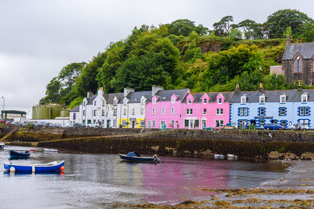 PORTREE, SCOTLAND - AUGUST 11, 2017 - View, of the colorful buildings of Portree in the Isle of Skye. Editorial