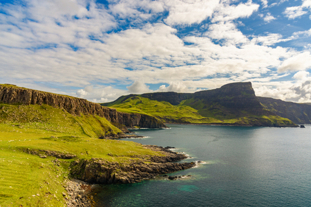 isles: Cliffs of Neist Point, rugged and rocky coast on the Isle of Skye, in Scotland. Stock Photo
