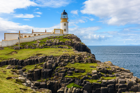 View of the Neist Point lighthouse on the most westerly point of Isle of Skye, Scotland.