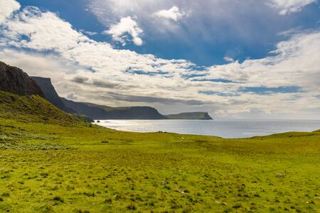 Cliffs of Neist Point, rugged and rocky coast on the Isle of Skye, in Scotland. Stock Photo