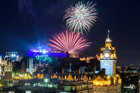 EDINBURGH, SCOTLAND - AUGUST 15, 2017 - The scenic summer fireworks in Edinburgh during the Royal Military Tattoo and Fringe Festival.