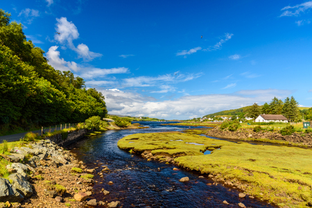 Scenic view of the wonderful nature near Portree, a small town in the Isle of Skye, Scotland Stock Photo