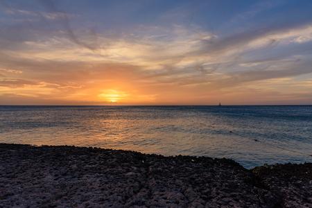 Scenic caribbean sunset in Aruba
