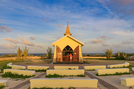 View of the beautiful and colorful Chapel of Alta Vista in Aruba