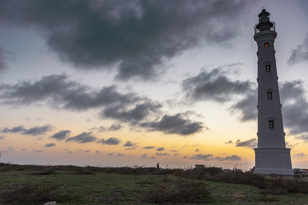 View of Califonia Lighthouse in Aruba at sunset
