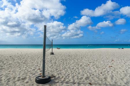 A beach volleyball net in the beautiful Eagle Beach in Aruba