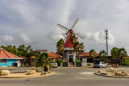 Oranjestad, Aruba - January 12, 2018: View of an hotel in Oranjestad inspired by dutch windmill. Editorial