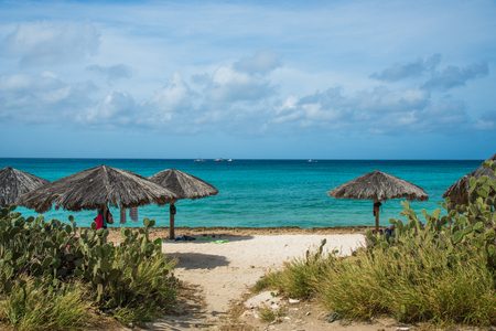 View of the caribbean beach of Arashi near Noord in Aruba Stock Photo - 108336193