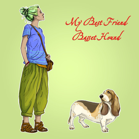 basset hound: Young beautiful woman girl with best friend basset hound dog Illustration