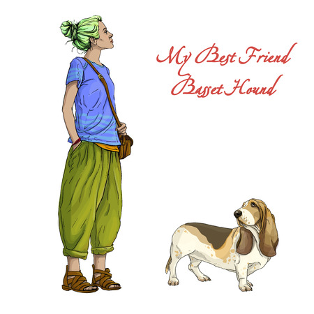 hound: Young beautiful woman girl with best friend basset hound dog Illustration