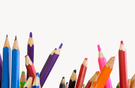 colored pencils isolated on white background. Stock Photo