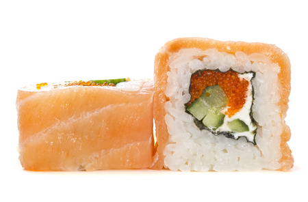Salmon sushi roll isolated on white  Stock Photo