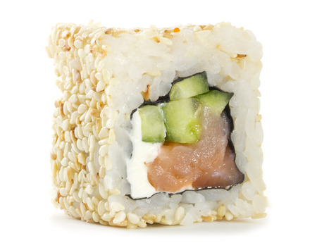 Sushi roll with sesame isolated on white