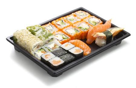 Set of sushi in black plastic box photo
