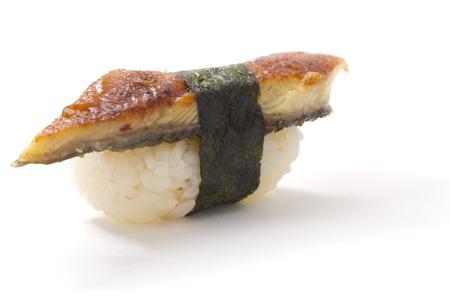 sake maki: Eel sushi nigiri isolated on white  Stock Photo