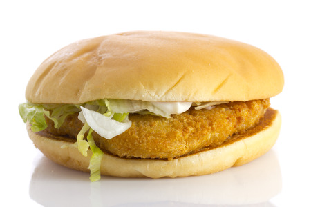 Chicken burger, isolated on white . Close up.