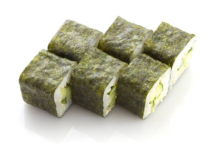 Sushi maki with cucumber and sesame isolated on white  photo