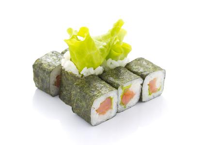 Japan sushi rolls isolated on white