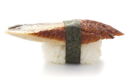 Eel sushi nigiri isolated on white  Stock Photo