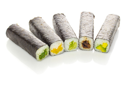 unsliced: Unsliced sushi rolls isolated on white background