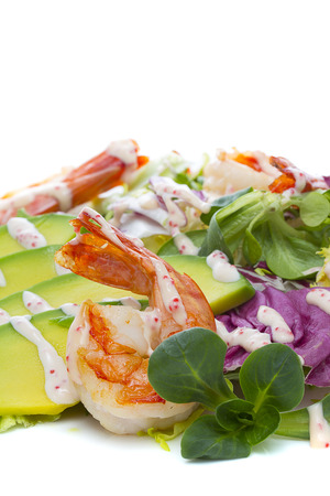 Grilled Shrimp salad with avocado photo