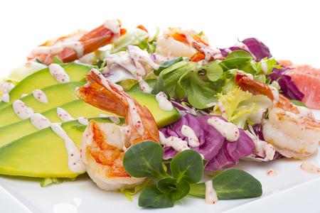 Grilled Shrimp salad with avocado