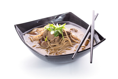 buckwheat noodle: Thai soup with soba noodles and meal with chopsticks isolated