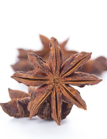 anis: star anise isolated on a white background Stock Photo